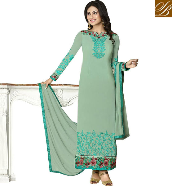 TV STARLET MAUNI ROY IN PAKISTANI STYLE SALWAAR SUIT ANZN1127 BY LIGHT GREEN