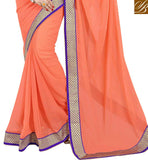 ORANGE COLOR PURE GEORGETTE CASUAL SAREE WITH BLUE PURE DUPION BLOUSE LATEST DECORATED STONE WORK ON SAREE WITH WEAVING ZARI LACE BORDER WORK AND TWO SIDE PIPPING WORK CASUAL SAREE BUY ONLINE IN INDIA