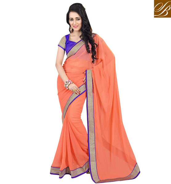 SIMPLE SAREE BLOUSE DESIGNS NICE LOOKING INDIAN ETHNIC WEAR ORANGE COLOR PURE GEORGETTE CASUAL SAREE WITH BLUE PURE DUPION BLOUSE