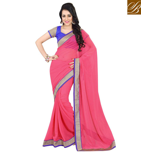 HALF SAREE BLOUSE DESIGNS OF NEW FASHION TRENDS COLLECTION OF 2015DUSTY PINK PURE GEORGETTE CASUAL SAREE WITH BLUE DUPION DESIGNER BLOUSE