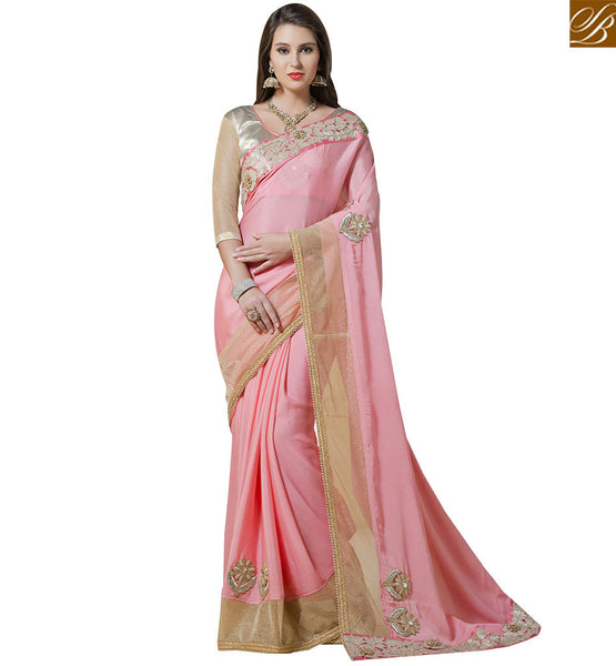PLEASING DESIGNER PARTY WEAR SAREE BLOUSE RTANT112 BY LIGHT PINK
