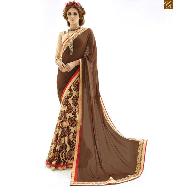 ALLURING NEW STYLE'S HALF SAREE MODELS COMBINATION OF PRINT AND PLAIN PAIRED WITH AWESOME INDIAN DESIGNER BLOUSES COLLECTION | Coffee and cream Georgette new Indian printed saree with Contrast Laced Border combind with cream lond sleeve designer art silk blouse