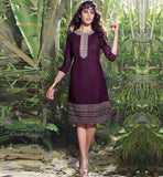 PRETTY MAGENTA LINEN DESIGNER KURTI WITH CENTER ACCENTUATED LOOK