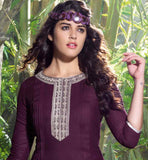 MAJESTIC MAGENTA LINEN DESIGNER KURTI WITH CENTER ACCENTUATED LOOK