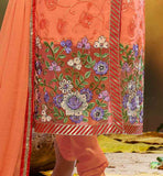 FLOWERY PATTERN EMBROIDERY WORK ON SALWAR SUIT