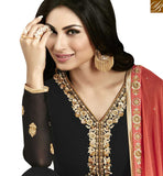 A STYLISH BAZAAR PRESENTATION STUNNING BLACK & RED COLORED SUIT WITH GLITTERING BORDER WORK ANZN1131