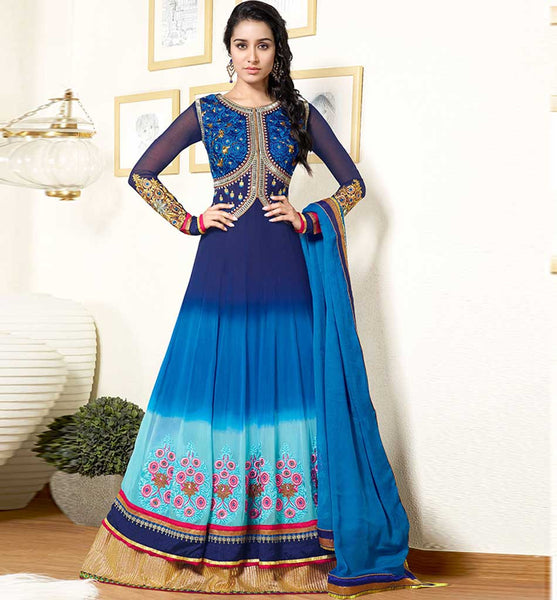 BEAUTIFUL BLUE COLOR SHRADDHA KAPOOR DRESS ANKS1131