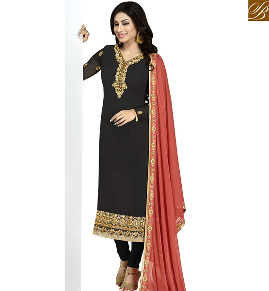 STYLISH BAZAAR STUNNING BLACK & RED COLORED SUIT WITH GLITTERING BORDER WORK ANZN1131
