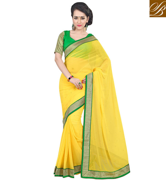 MODERN SAREE BLOUSE DESIGNS INDIAN CLOTHING FOR FASHIONABLE WOMENYELLOW COLOR PURE GEORGETTE CASUAL SAREE WITH GREEN DUPION DEDIGNER BLOUSE
