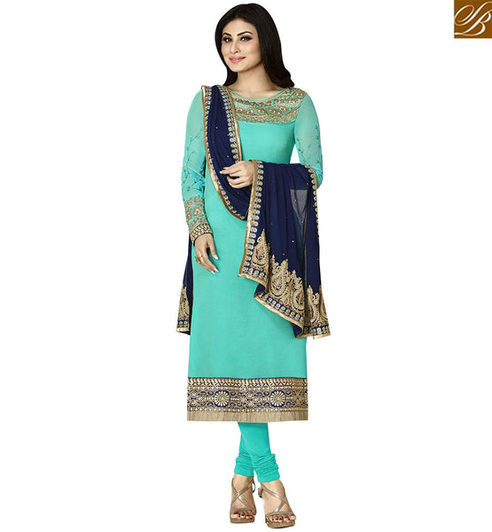 STYLISH BAZAAR AMAZING SKY & NAVY BLUE COLORED SALWAR KAMEEZ WITH GLITTERY BORDER WORK ANZN1133