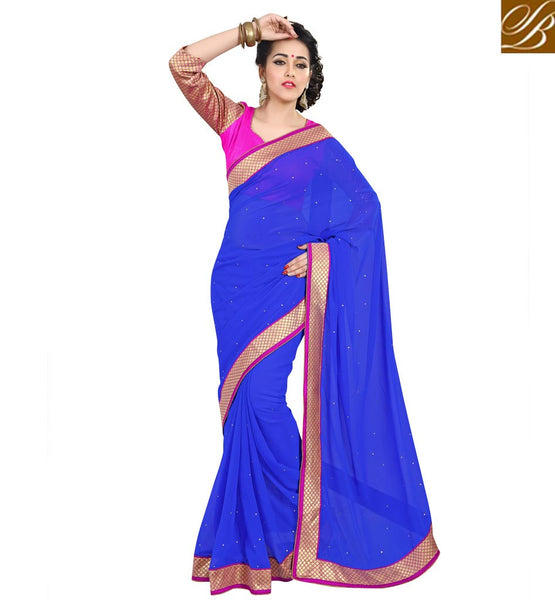 CASUAL SAREE WITH INDIAN BLOUSE DESIGNS ETHNIC WEAR ONLINEBLUE COLOR PURE GEORGETTE CASUAL WEAR SAREE WITH PINK DUPION BLOUSE