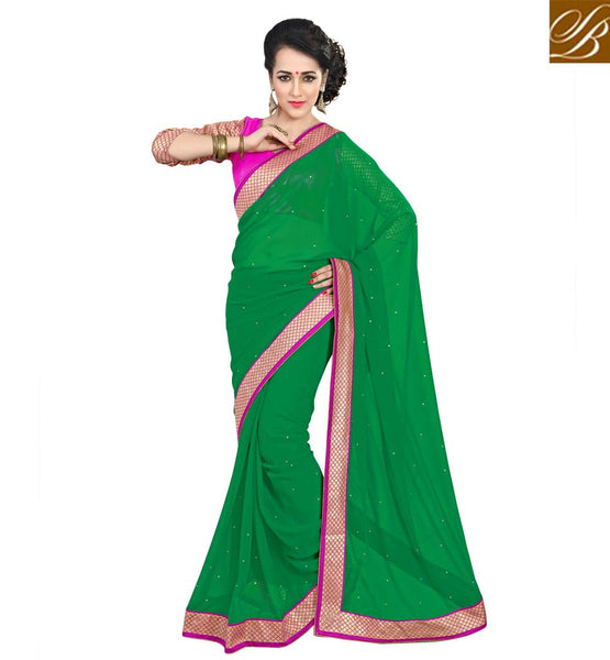 MODERN BLOUSE DESIGNS WITH CASUAL SAREES ONLINE SHOPPINGGREEN COLOR PURE GEORGETTE CASUAL SAREE WITH PINK DUPION DESIGNER BLOUSE