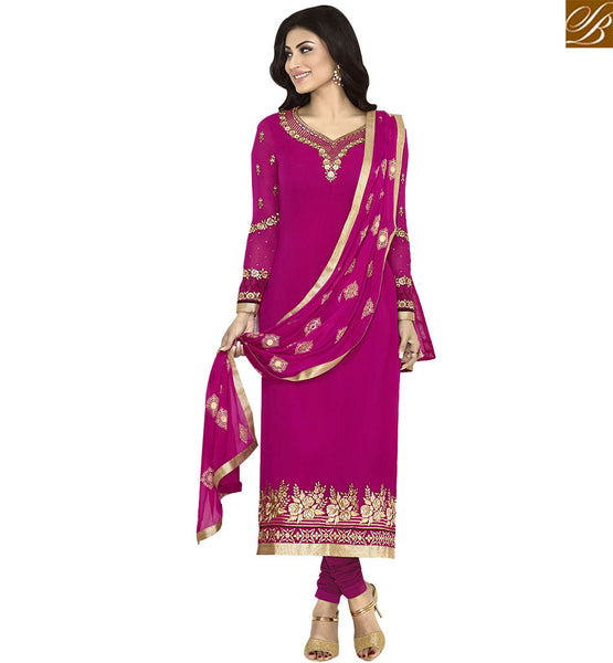 STYLISH BAZAAR EYE CATCHING PINK COLORED DESIGNER SUIT ANZN1134