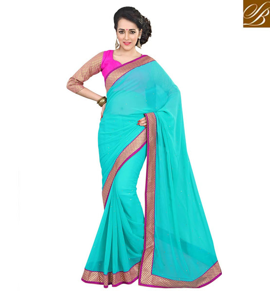 CASUAL WEAR SAREES COLLECTION ALONG WITH INDIAN BLOUSE DESIGNSSKY BLUE PURE GEORGETTE CASUAL WEAR SAREE WITH PINK DUPION DESIGNER BLOUSE