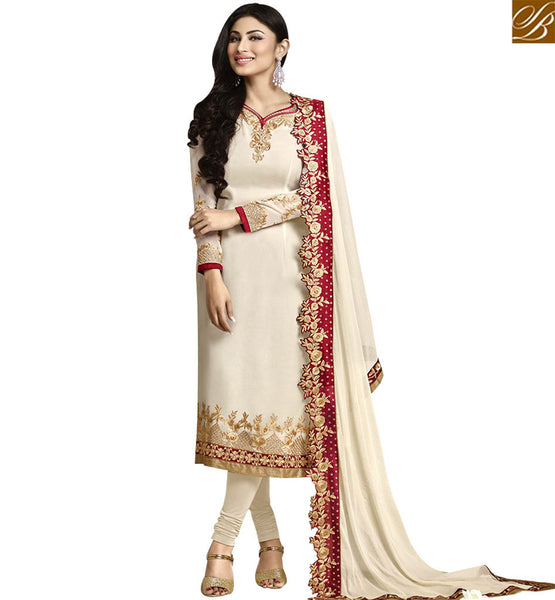 GOOD LOOKING CREAM COLORED BEAUTIFUL DESIGNER SALWAR SUIT ANZN1135