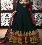 SHRADDHA KAPOOR WEDDING WEAR GOWN STLYE ANAKRLALI BLACK STYLISH BAZAAR 11336A