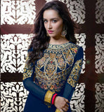 SHRADDHA KAPOOR WEDDING WEAR GOWN STLYE ANAKRLALI BLUE STYLISH BAZAAR 1136B