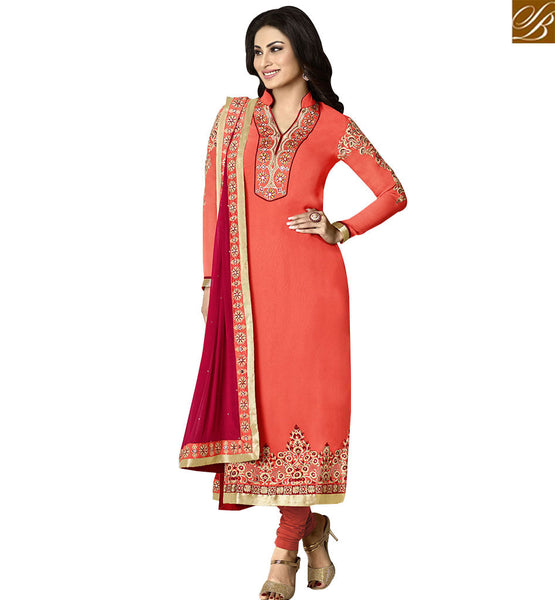 STYLISH BAZAAR PERFECT ORANGE & MAROON COLORED SUIT WITH EYE CATCHING BORDER WORK ANZN1136