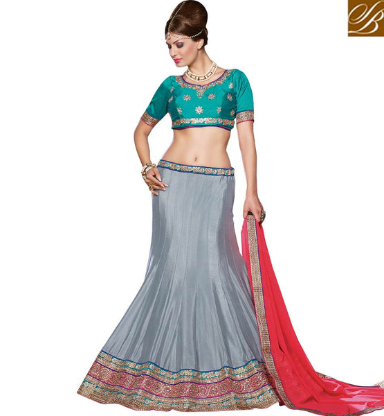 STYLISH BAZAAR BEWITCHING LEHENGA SAREE DESIGN ESPECIALLY FOR MARRIAGE AND RECEPTIONS RTJS1137