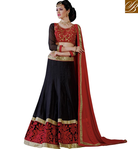 CAPTIVATING DESIGNER WEDDING WEAR GHAGHRA CHOLI DESIGN RTJS1138 BY BLACK