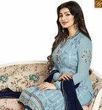 BROUGHT TO YOU BY STYLISH BAZAAR WONDERFUL GREY GEORGETTE AYESHA TAKIA STRAIGHT CUT EMBROIDERED HAVING FULL SLEEVES SUIT ANZN1139