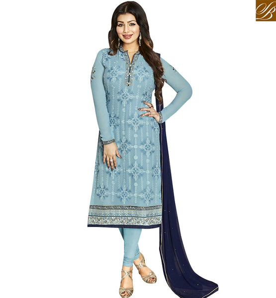 STYLISH BAZAAR WONDERFUL GREY GEORGETTE AYESHA TAKIA STRAIGHT CUT EMBROIDERED HAVING FULL SLEEVES SUIT ANZN1139