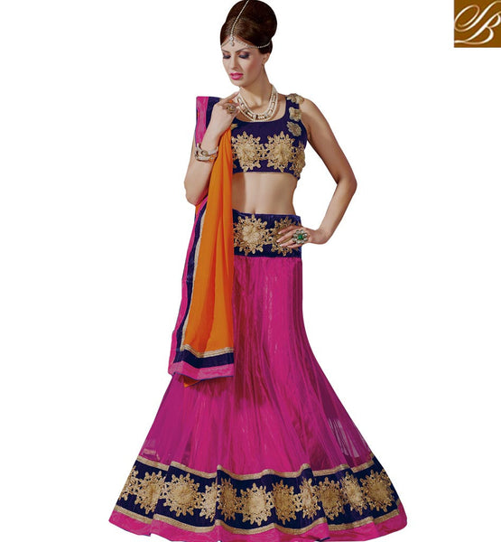 STYLISH BAZAAR CHARMING EMBROIDERED FLORAL DESIGN LEHENGA SARI DESIGN RTJS1139