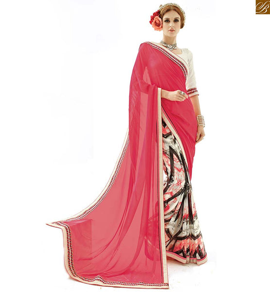 Half saree models with stunning latest blouse patterns of 2015 pink and white georgette half and half beautiful printed saree with white designer art silk blouse