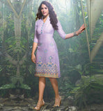 STYLISH LIGHT PURPLE LINEN KURTI WITH EMBROIDERY WORK  |  Latest Indian Tunic tops online shopping surat gujarat, jaipur rajasthan, indian tops for leggings