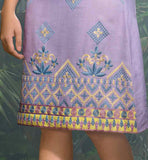 COOL SUMMER WEAR LINEN KURTI WITH EMBROIDERY AT LOWER PART