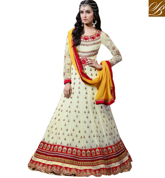 Anmol Khwaab Shraddha Kapoor Cream Wedding wear Anarkali