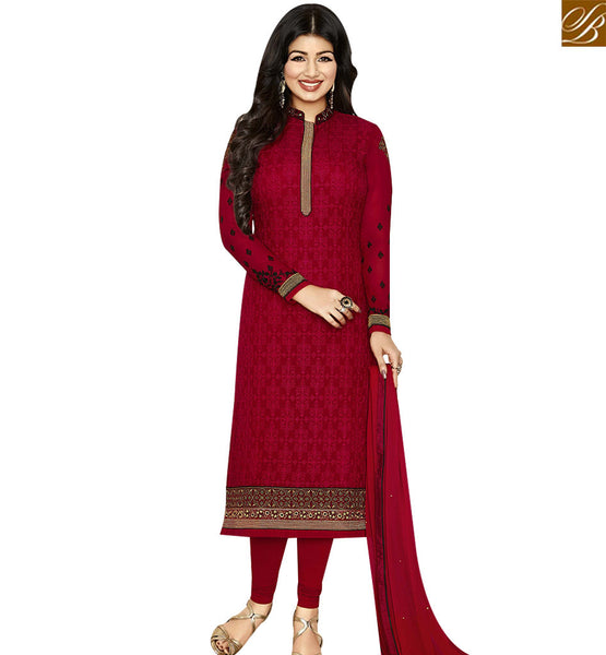 STYLISH BAZAAR BOLLYWOOD CELEBRITY AYESHA TAKIA MAROON GEORGETTE STRAIGHT CUT SALWAR KAMEEZ ANZN1140