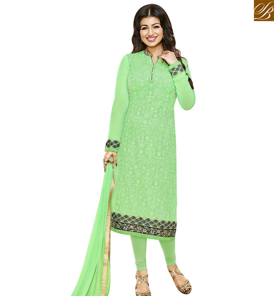 STYLISH BAZAAR INVITING LIGHT GREEN GEORGETTE AYESHA TAKIA STRAIGHT CUT SUIT HAVING EMBROIDERED AND FULL SLEEVES ANZN1141