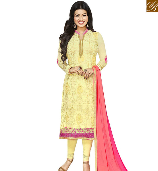 STYLISH BAZAAR SHOP ONLINE BOLLYWOOD ACTRESS AYESHA TAKIA STRAIGHT CUT SALWAR KAMEEZ WITH PINK SHADED DUPATTA ANZN1142
