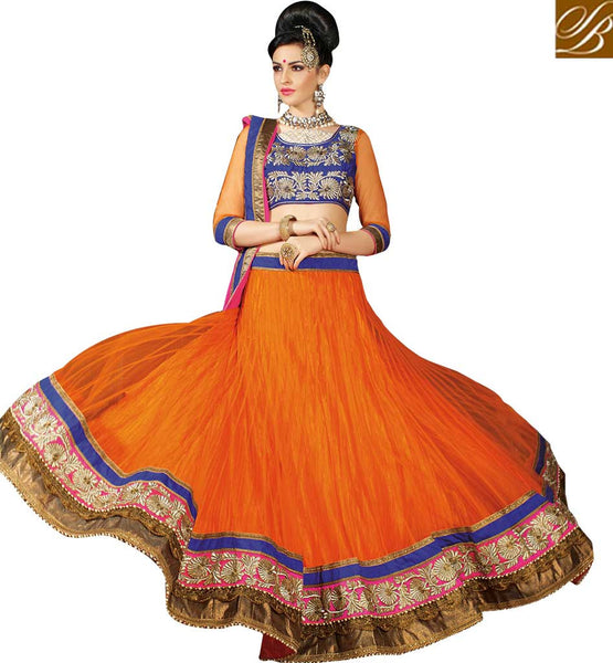 DAZZLING BRIDAL WEAR DESIGNER GHAGHRA CHOLI RTJS1142  BY ORANGE