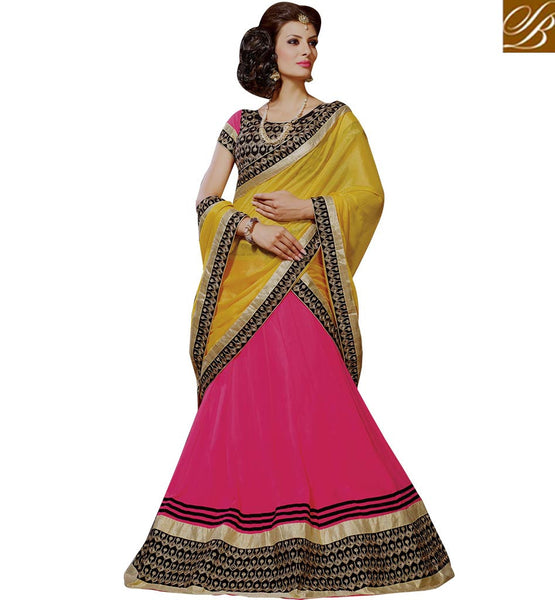 DELIGHTFUL LEHENGA SARI DESIGN TAILOR MADE FOR MARRIAGES RTJS1143 BY PINK