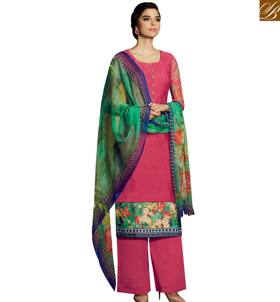 STYLISH BAZAAR PLEASING MAROON DESIGNER SALWAR KAMEEZ DISPLAYING PRINTED BORDER WITH PLAZZO STYLE KMV114