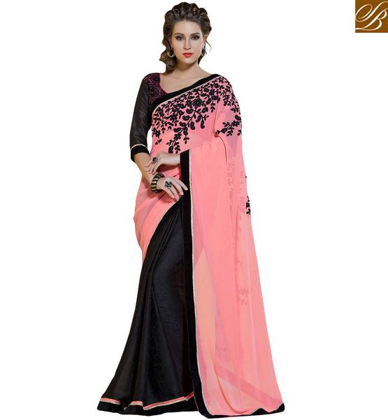 STYLISH BAZAAR GORGEOUS PEACH AND BLACK HALF AND HALF DESIGNER SAREE RTANT114