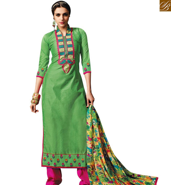 STYLISH BAZAAR CHARMING GREEN COLORED BEAUTIFUL DESIGN SALWAR SUIT RTSRH114