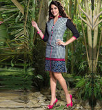 LONG KURTIS ONLINE SHOPPING INDIA STYLISH LINEN CHECKS AND EMBROIDERY
