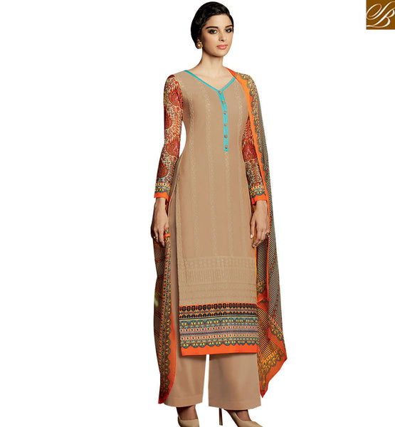 STYLISH BAZAAR WONDERFUL BEIGE DESIGNER SALWAR KAMEEZ WITH PRINTED LONG SLEEVES HAVING PLAZZO STYLE KMV115