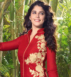 RAVISHING RED PARTY WEAR  LINEN KURTI WITH EMBROIDERY