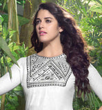 CAPTIVATING LINEN KURTI WITH EMBROIDERY WORK ON THE NECK & LOWER PART