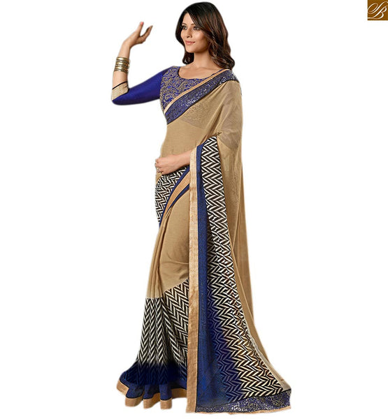 Chiffon chikoo colored printed saree for party wear chikoo chiffon color amazing printed saree with sequence border and blue embroidered designer blouse Image