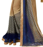 Chiffon chikoo colored printed saree for party wear chikoo chiffon color amazing printed saree with sequence border and blue embroidered designer blouse. Lace border work is provided on the lower part Photo