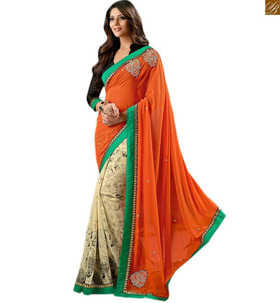 Cream colored georgette sari with orange pallu cream saree made of georgette with orange colored pallu and kerry border line and black different cut designer blouse Image