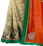 Cream colored georgette sari with orange pallu cream saree made of georgette with orange colored pallu and kerry border line and black different cut designer blouse pic