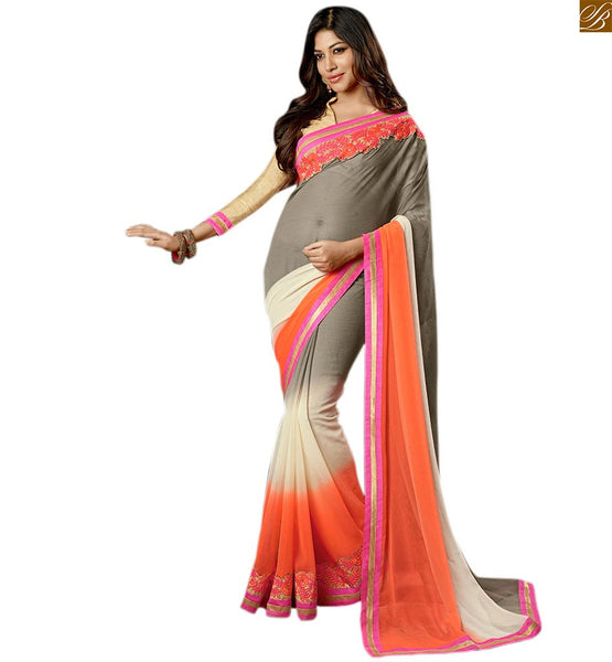 Cream and orange multi colored chiffon sari cream-orange printed shaded saree with lace border on lower part and cream high neck designer blouse Image