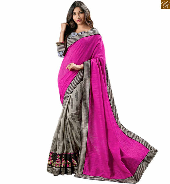 Grey colored printed art-silk sari with pink pallu grey art-silk printed saree with lace border and heavy resham embroidery work on lower part. The pallu of pink color ads beauty to the design Image