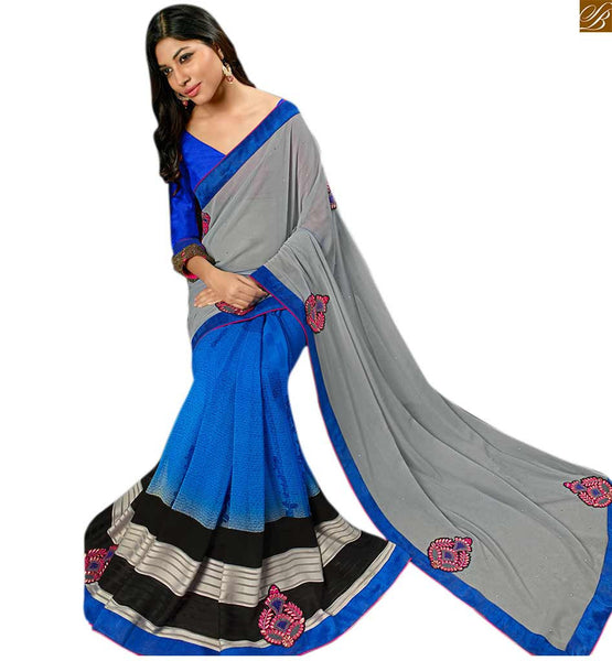 Blue georgette saree with grey pallu blue georgette eye-catching printed saree with piping lace border and blue three fourth type blouse Image